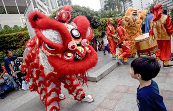Lion dance performance held in Jakarta to celebrate Chinese Lunar New Year