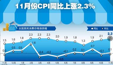 圖表:11月CPI同比上漲2.3%