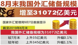 8月末我國外匯儲備規模增至31072億美元   保持總體穩定