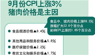 統計局:9月CPI同比上漲3.0%   其中食品價格漲11.2%
