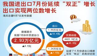 """我國進出口7月延續""""雙正""""增長   增速為今年以來最好表現"""