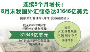 """8月末我國外匯儲備達31646億美元   實現""""五連升"""""""